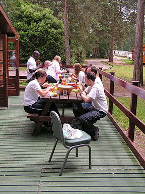 eating out at the Lodge
