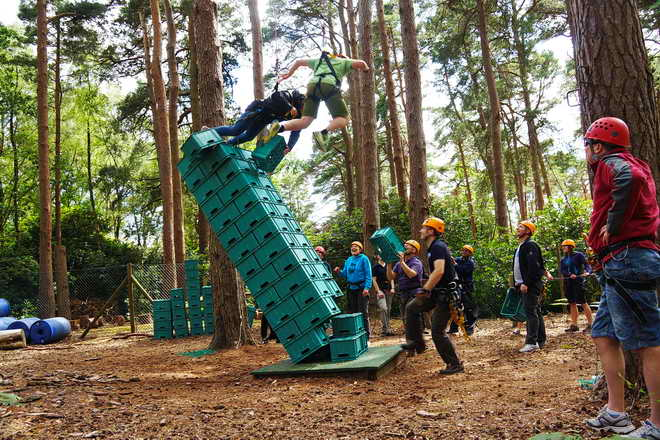 The Crate Stack challenge on the High Ropes