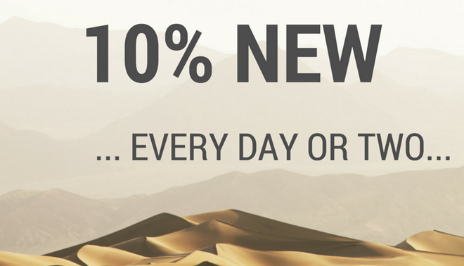 Introduce change - 10% New every day or two